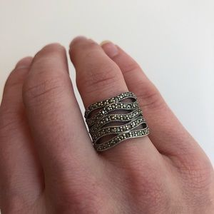 Anthropologie Pave Silver Statement Ring